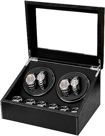 Caja Relojes Automaticos Caja de enrollador de Reloj automático con patrón de cocodrilo Negro, de Madera 4 Relojes de Pulsera + 6 Estuches de Almacenamiento, Motor japonés Mudo, Estuche d: Amazon.es: Relojes