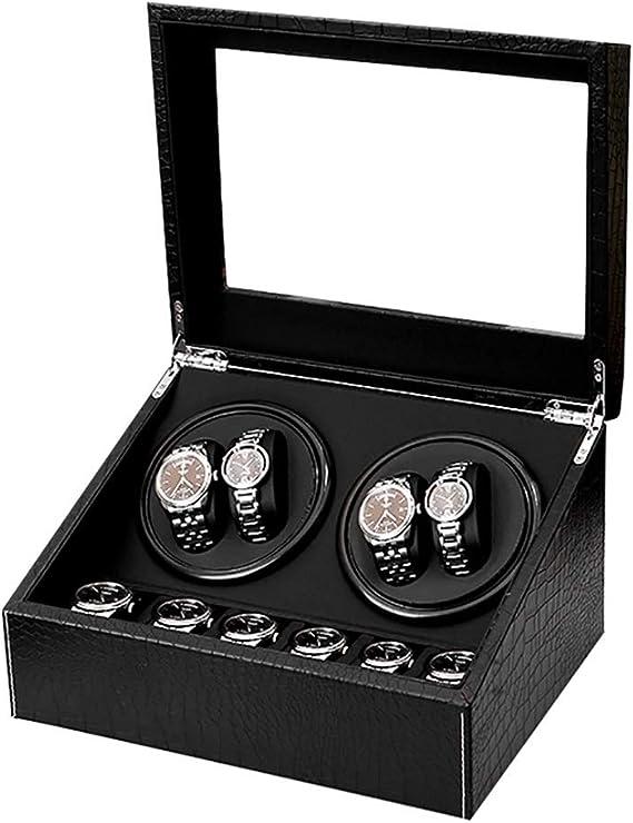 Watch Winder,Cajas giratorias para Relojes Caja de enrollador de Reloj automático con patrón de cocodrilo Negro, de Madera 4 Relojes de Pulsera + 6 Estuches de Almacenamiento, Motor Japon: Amazon.es: Relojes