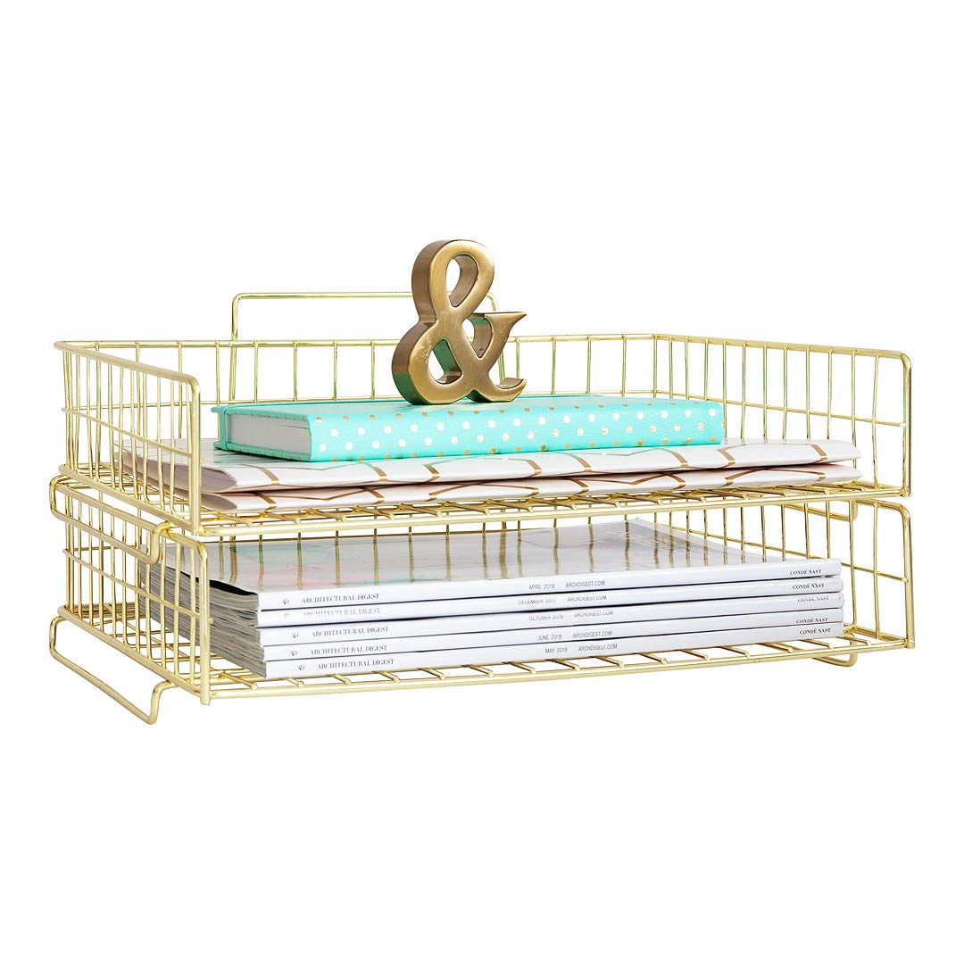Blu Monaco Gold Desk Organizer Stackable Paper Tray Set of 2 - Metal Wire Two Tier Tray - Stackable Letter Tray - Inbox Tray for Desk by Blu Monaco