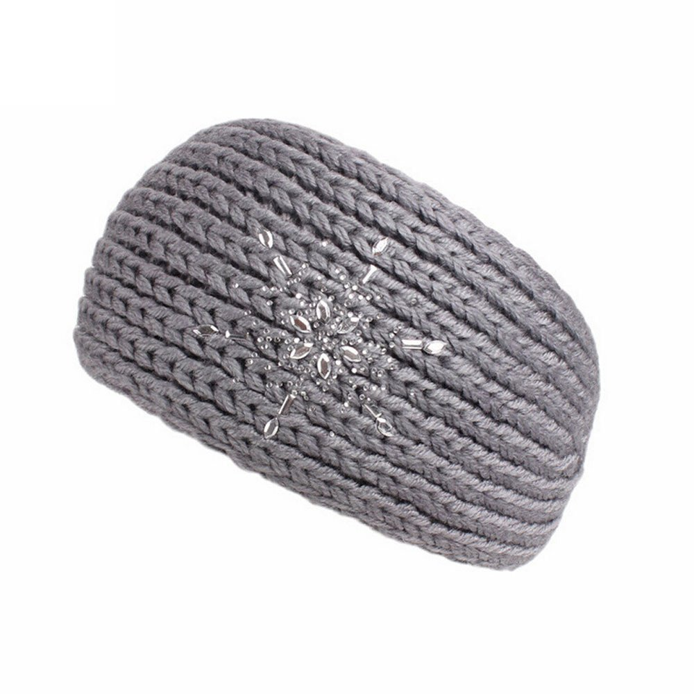 Qisc Bohemia Diamond Knitting Headband Handmade Keep Warm Hairband For Women (Gray)