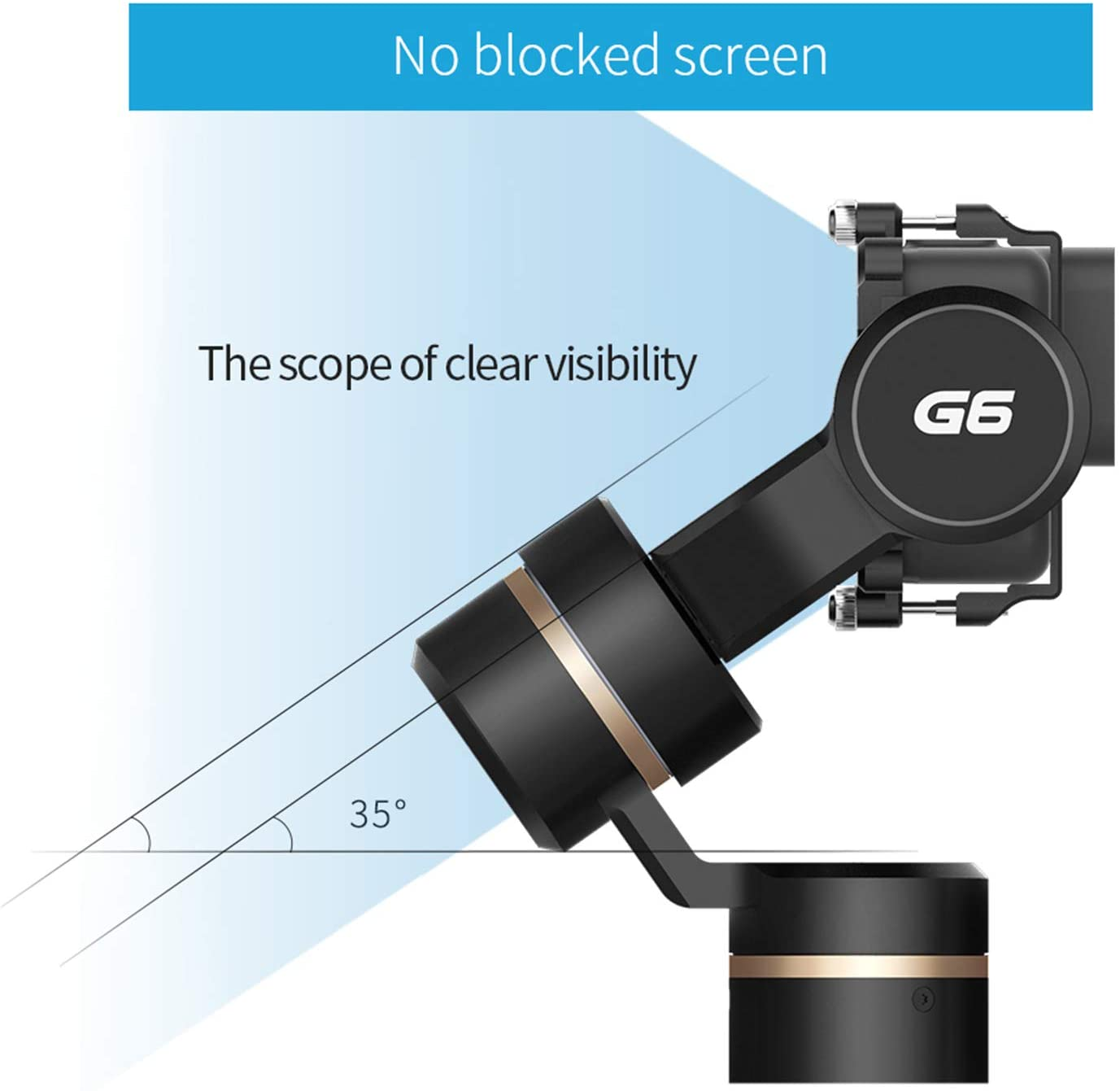 G6 3-Axis Handheld Camera Gimbal Stabilizer for GoPro Action Camera with WiFi Bluetooth OLED Screen for GoPro Hero 8 7 6 5 Sony RX0 Yi 4k DJI Osmo Action Camera Splash-Proof
