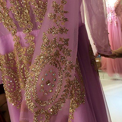 Perles Paillettes D'or Appliques Robes De Soirée Pour Les Femmes Arabes Corlink Robes Formelles Violet