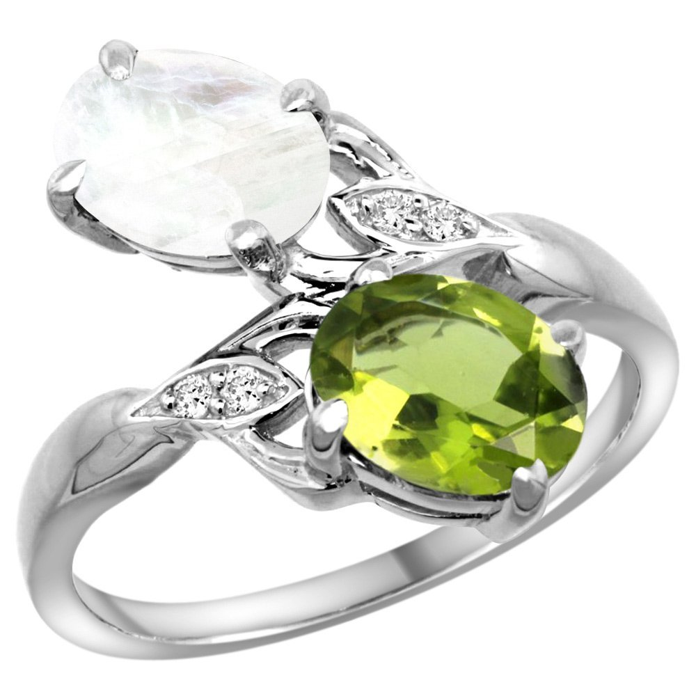 10K White Gold Diamond Natural Peridot & Rainbow Moonstone 2-stone Ring Oval 8x6mm, size 7