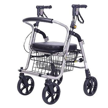 KOSHSH Andador De Aluminio Ligero Plegable Carrito De Compras Carro De Apoyo De Doble Polo Carretilla De Escalera Escalada Silla De Ruedas con Almohadillas ...