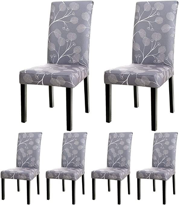 WURUIBO Super Fit Spandex Fabric Stretch Elastic Dining Chair Cover Washable Chair Protective Slipcovers for Dining Room, Hotel, Party(Grey Leaves,B)