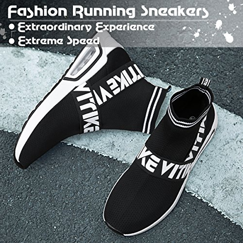 Image of Littleplum Fashion Flyknit Sneakers Running Shoes Breathable Outdoor Casual Sports Shoes Ultra Boost High-top Athletic Socks Shoes Walking Shoes(Kids&Womens)