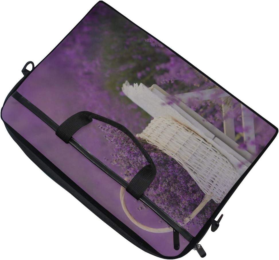 Laptop Bag Basket Lavender Field 15-15.4 Inch Laptop Case Briefcase Messenger Shoulder Bag for Men Women College Students Business People Office Workers