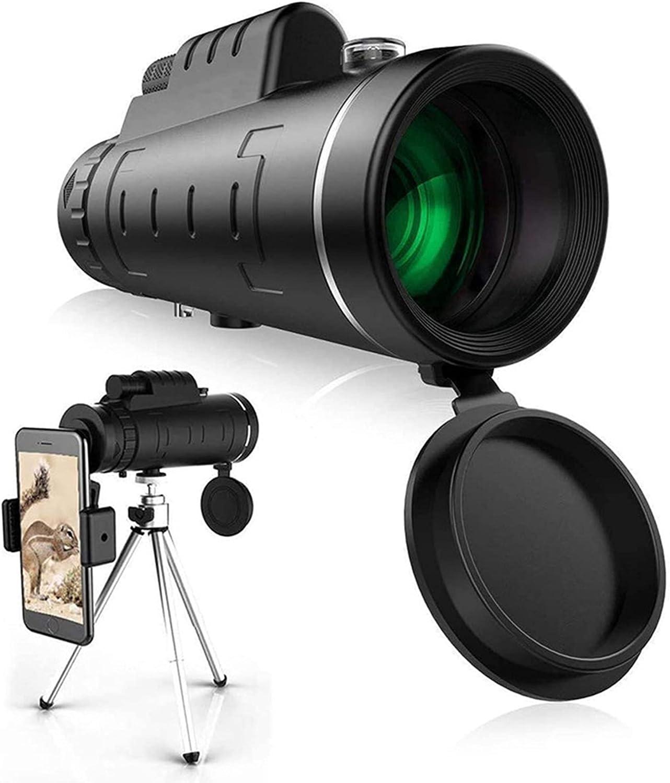 Telescopio monocular, 40 x 60 Alta definición FMC BAK4, Monocular HD para observación de Aves, con Soporte para Smartphone y trípode IPX7 Materiales Impermeables para Camping