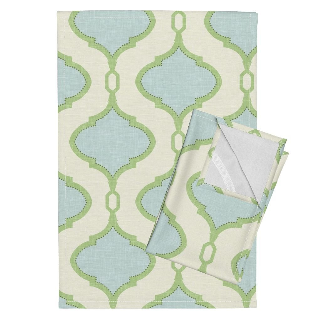 Roostery Quatrefoil Ogee Trellis Spa Mint Blue Cream Tea Towels Alessandra Trellis in Blue and by Willowlanetextiles Set of 2 Linen Cotton Tea Towels