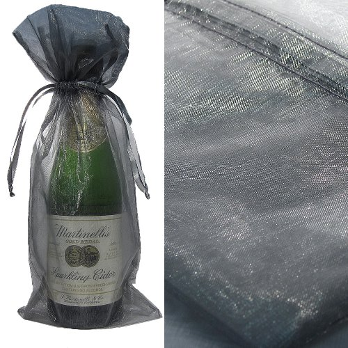 silver bottle wine organza favor