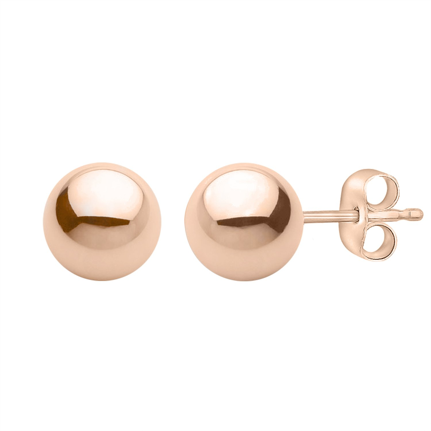 PARIKHS Rose Gold Ball Earrings High Polished 8MM with 14k Rose Gold Pushbacks