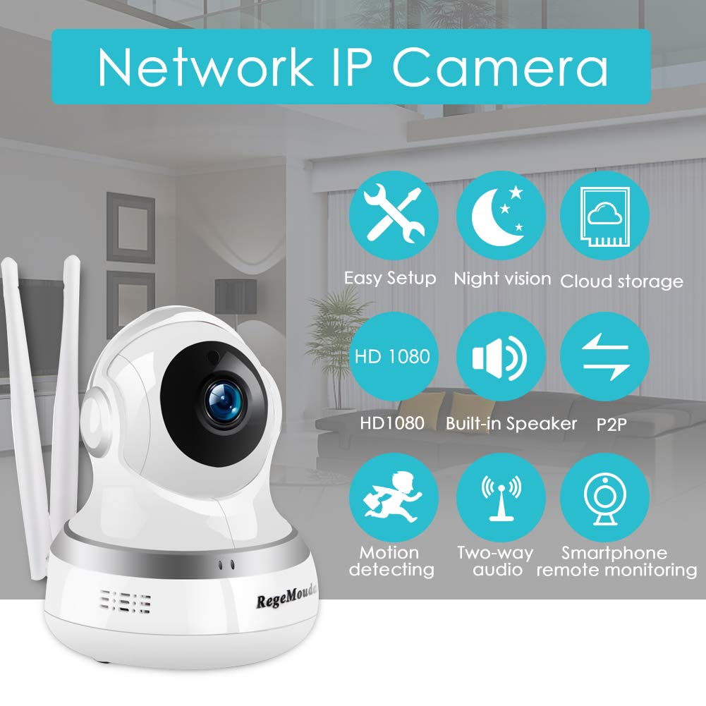 Home Camera,RegeMoudal 1080P WiFi IP Camera Wireless Indoor Camera 1920 1080 Resolution, IP Security Surveillance System with Night Vision Motion, Two Way Audio and Sound Detection White