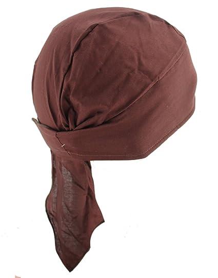 e8e1eec42eb Amazon.com  Deluxe No Tie Rip Stop Solid Brown Skull Cap Du Rag Hat   Clothing