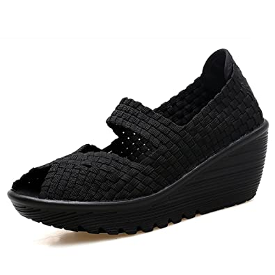 26e768c02314 HKR-SDF559heise35 Women Platform Weave Wedges Summer Mary Jane Sandals Open  Peep Toe Woven Shoes
