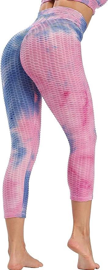 Amazon Com L Yin High Waist Yoga Pants Women S Fitness Pants Femmes 3 4 Legging De Sport Plisse Pantalon Court Pantacourt Push Up Fitness Tummy Control Leggings Color A Bleu Et Rose Size S Home
