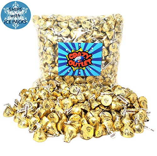 CrazyOutlet Pack - Hersheys Kisses Gold Foils Milk Chocolate with Almonds, Bulk Candy 2 lbs