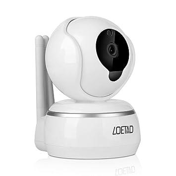 LOETAD IP Cámara de Vigilancia WiFi P2P HD 1080P Audio Bidireccional Visión Nocturna Detección de Movimiento