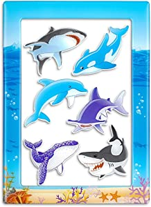 Shark Magnets Dolphin Magnets for Fridge and Magnetic Photo Frame 7-in-1 Sea Life Gifts (6pcs Refrigerator Magnets and 4 x 6 Inches Magnetic Picture Frame)