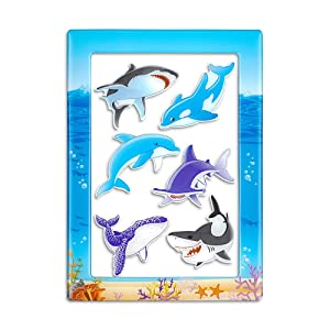 Morcart Shark Magnets And 4 x 6 Inches Magnetic Photo Frames 2 in 1 Sea Life Fridge Magnet Set Decoration for Refrigerator Lockers Classroom Office,Best Gift Choice (7 PCS)