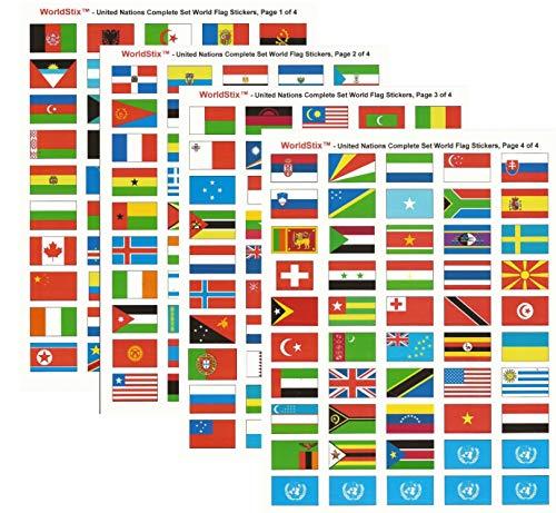 World Flag Stickers - United Nations Sticker Set; 1.5