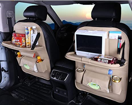 Car Back Seat Organizer Pu Leather Foldable Dining Table Multifunctional OrganizerBeige