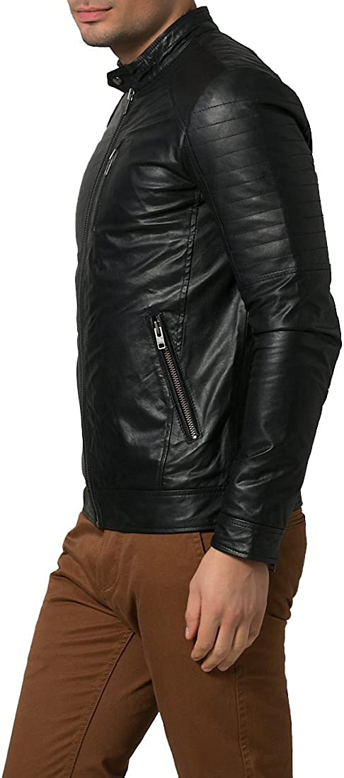 Mens Genuine Lambskin Leather Jacket Slim Fit Moto Biker Jacket T331