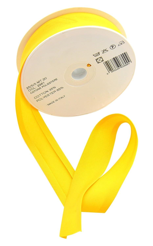 Inastri - 2961 Rotolo da 20 m di nastro sbieco di cotone misto 25/5/5 mm, giallo
