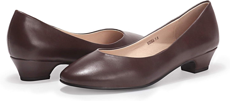 IDIFU Womens Delia Dress Low Chunky Heel Square Toe Wedding Office Pump Shoes