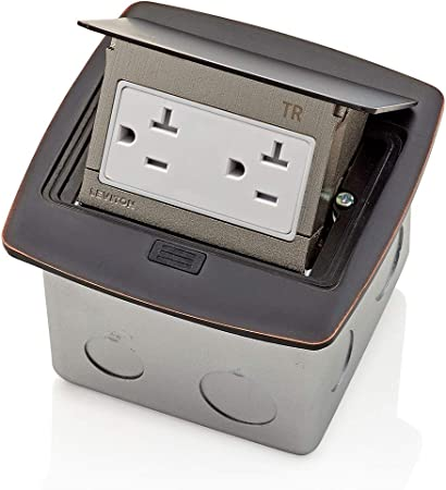 Brushed Nickel Leviton Pop-Up Floor Box with 20 Amp Tamper-Resistant Outlet