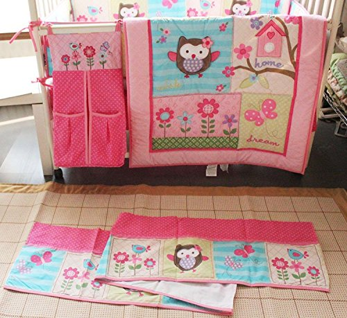 NAUGHTYBOSS Girl Baby Bedding Set Cotton 3D Embroidery Owl Bird Quilt Bumper Bedskirt Fitted Urine bag 8 Pieces Set Pink Color by NAUGHTYBOSS (Image #2)