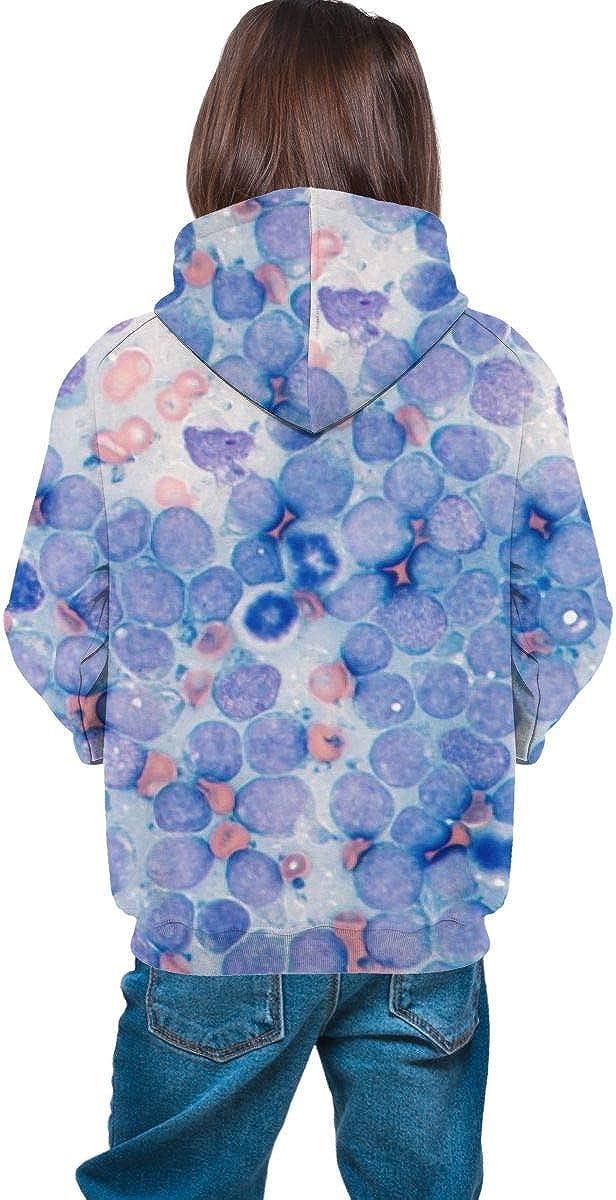 Kjiurhfyheuij Teens Pullover Hoodies with Pocket Cytology Blue Color Fleece Hooded Sweatshirt for Youth Kids Boys Girls
