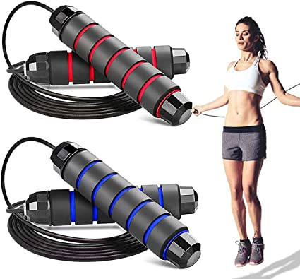 SporBee Adjustable Tangle Free Skipping Rope Rapid Fast Jumping Rope Aerobic Cardio Exercise Heavy Duty Wire Cable Rope Ball Bearings Memory Foam Handles for Speed Training Gym Fitness