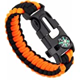 Survival Bracelet magnesium rod-Compass for Hiking, Camp Fire Starter,Firesteel & Tinder, Whistle emergency rope