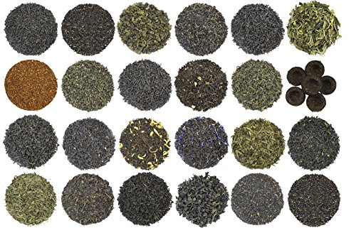 24-Variety Super Deluxe Loose Leaf Tea Sampler Gift Set w/ Green, Black, Oolong, White, Herbal, Pu'er and Flavored Gourmet (Leaf Gift)