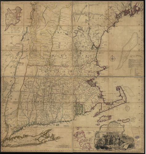 1760 Map A map of the most inhabited part of New England,containing the provinces of Massachusets Bay and New Hampshire,with the colonies of Conecticut and Rhode Island,divided into counties and