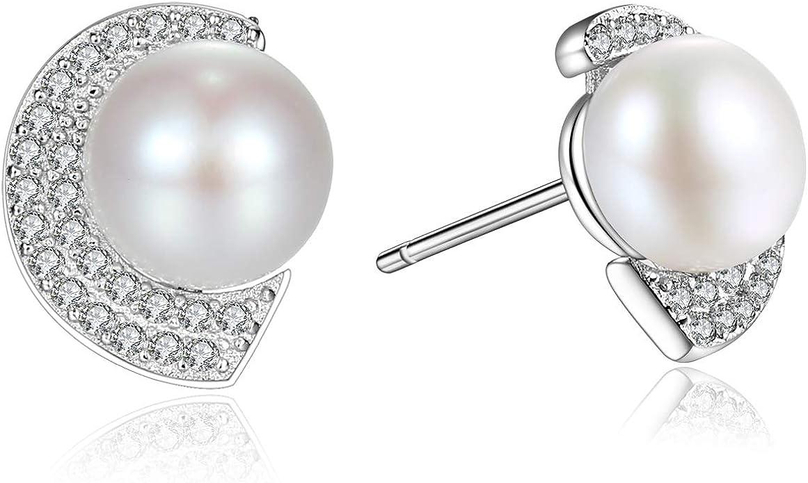 Boucles doreilles /à perles fines en argent sterling 925 Plaqu/é or 18 K perles de culture naturelles type bouton blanc 7 mm