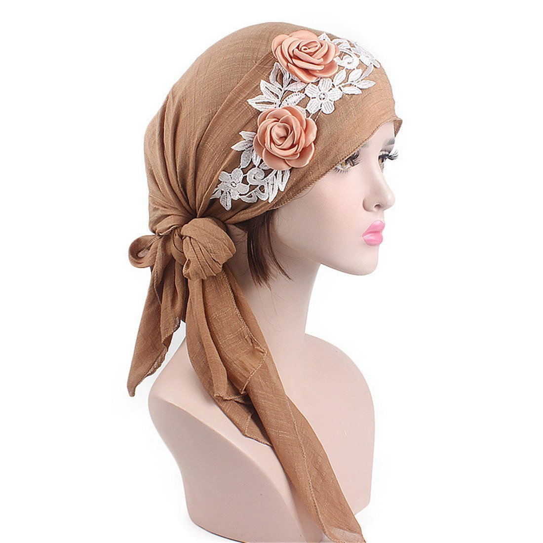 Qhome Women Pre-Tied Cotton Bandana Turban 3D Flower Lace Head Scarf Chemo Hair Cover Hat Headwraps Cancer Hats