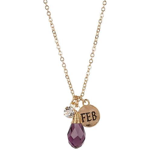 Amazon.com: Febrero vidrio Tono De Oro Collar de color ...