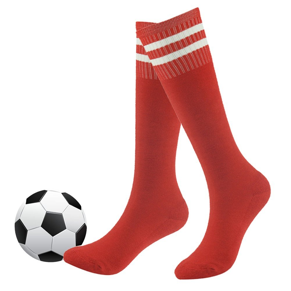 Team Sports Socks,Unisex Teens Girls Boys Cotton Long Tube Knee High Socks for Soccer,Football,Baseball,Basketball Fasoar 2 Pairs Red by Fasoar