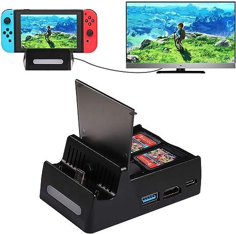 Shumeifang Base de Carga para Nintendo Switch & Switch Lite, Mini Portátil Switch TV Dock Soporte