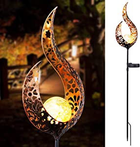 Vingtank LED Solar Garden Lights, Waterproof Crackle Glass Globe Stake Lights Hollow Out Flame Pathway Lawn Courtyard (Warm)