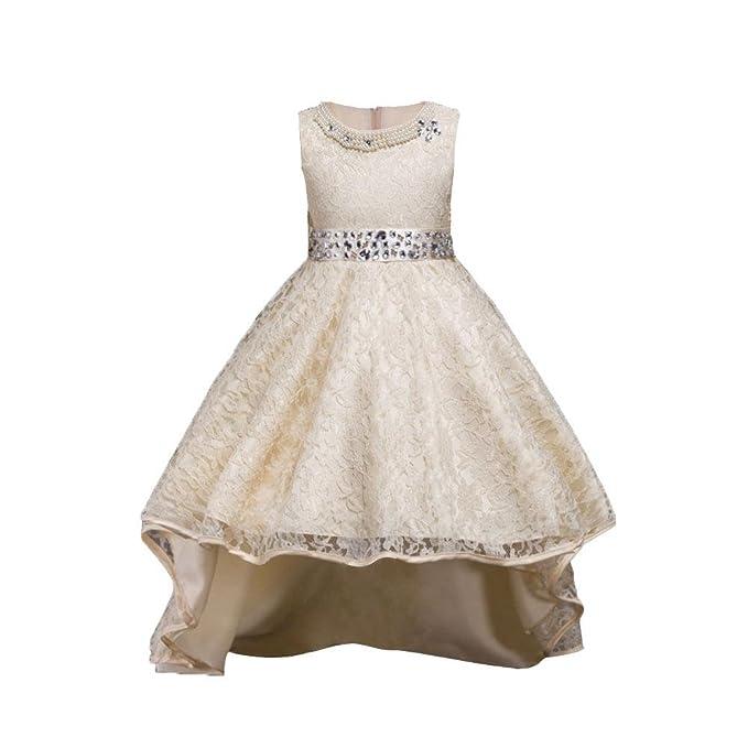 Silveoneuk - Vestido - Princesa - para bebé niña Beige champán 6-7 años