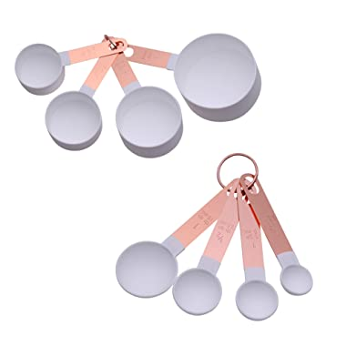 COOK With COLOR 8-Piece White Nylon Measuring Cups and Measuring Spoon Set With Rose Gold Copper Handles