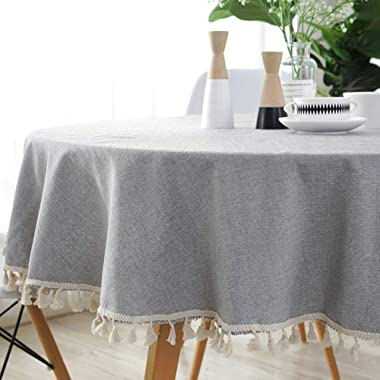 ColorBird Solid Color Tassel Tablecloth Cotton Linen Dust-Proof Table Cover for Kitchen Dinning Tabletop Decoration (Round, 60 Inch, Light Gray)