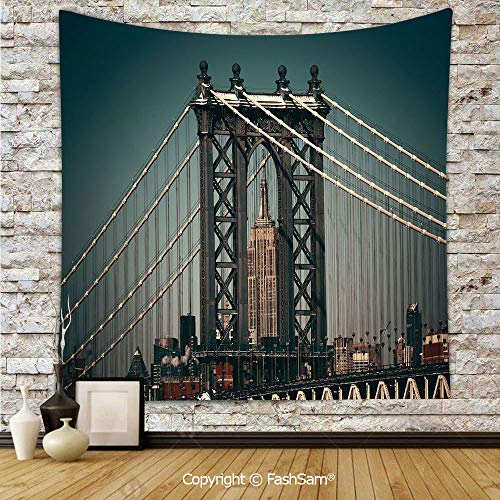 FashSam Tapestry Wall Blanket Wall Decor City Lights Landscape View with Bridge Empire State Building Skyscrapes Picture Home Decorations for Bedroom(W59xL78) ()