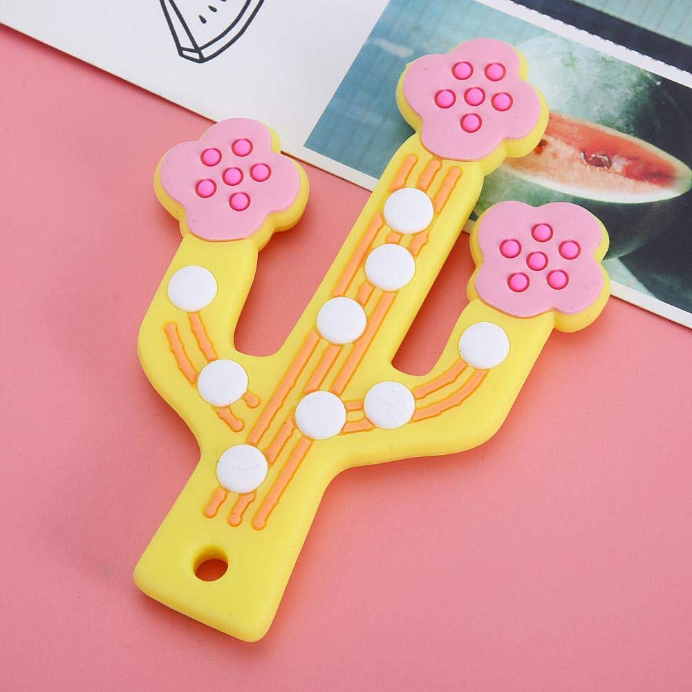 Amarillo Cepillo de dientes de silicona para masticar cactus de dentici/ón para beb/és mordedor para beb/é infantil para ni/ños peque/ños