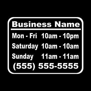 Decal Custom Hours and Days Sticker for Business Storefront Vinyl Die Cut