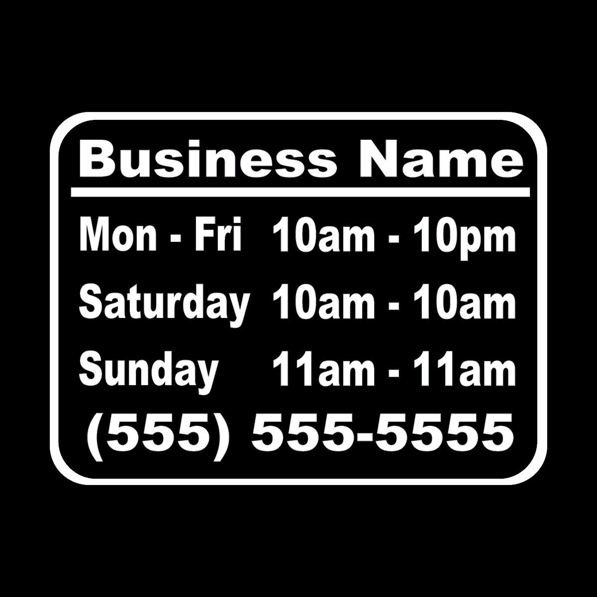 Wild Dingos LLC Business Hours Style 1 Size 10x13 Store Window Vinyl Decal Sticker White