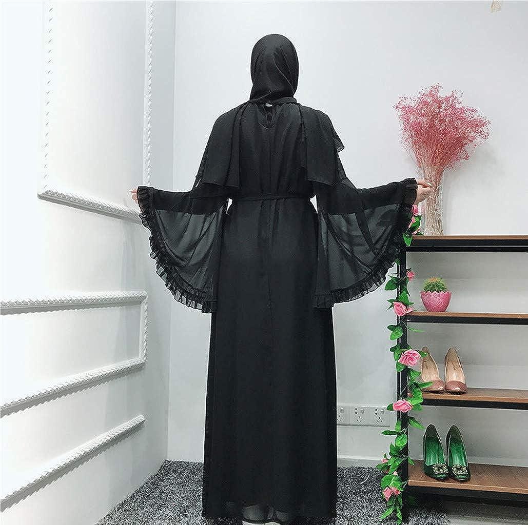 Summer Dresses for Women Miuye Casual Elegant Long Dress Robe Open Muslim Robe Gown Bell Sleeve Swing Dress