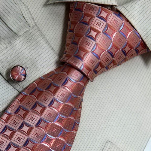 8157 Pink Pattern Silk Necktie Cufflinks Thanksgiving Day Gifts Set By Y&G - coolthings.us